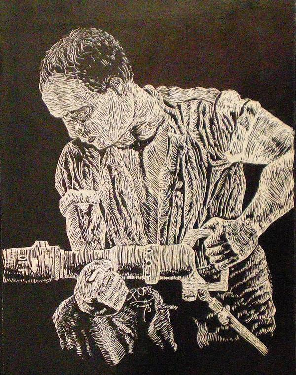 Scratch-board Poster featuring the drawing Working Man by Tammera Malicki-Wong