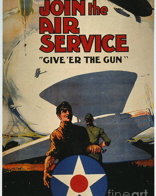 1918 Poster featuring the photograph World War I: Air Service by Granger
