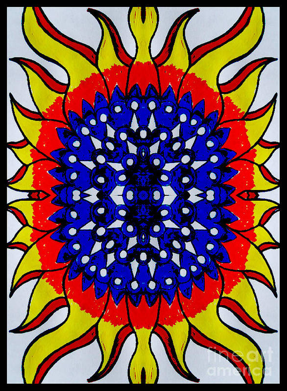 Poster featuring the digital art Sunburst Flower by Graham Roberts