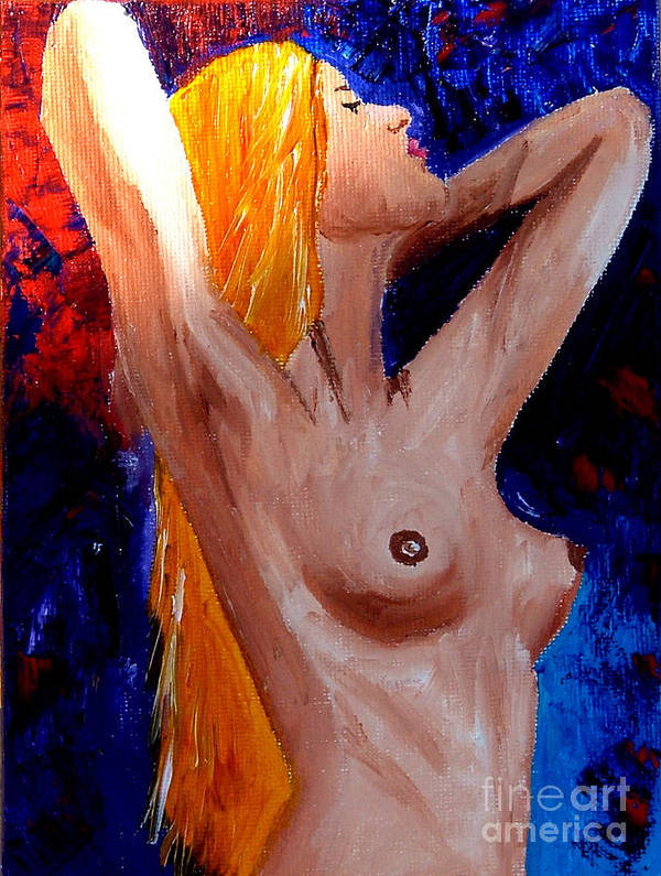 Nude Poster featuring the painting Girl Nude by Inna Montano