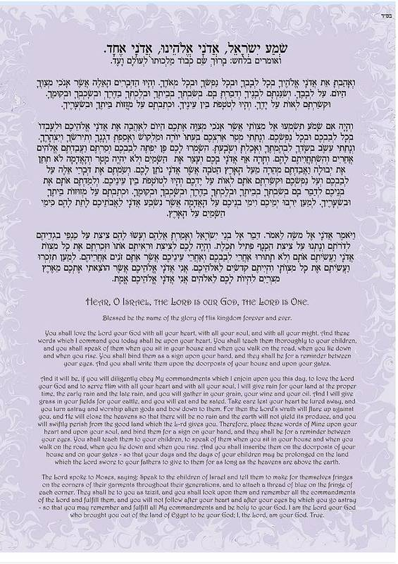 Httpwww Overlordsofchaos Comhtmlorigin Of The Word Jew Html: Hebrew Prayer- Shema Israel Poster By Sandrine Kespi
