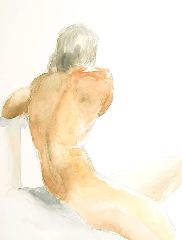 Nude Male Figure Poster featuring the painting Nude Series by Eugenia Picado