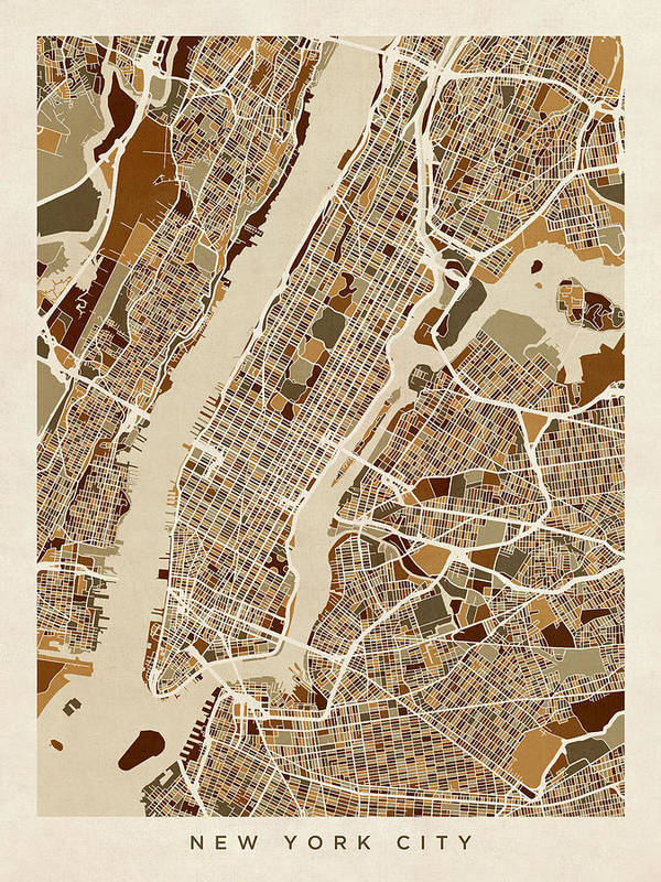 Map Of New York Poster.New York City Street Map Poster