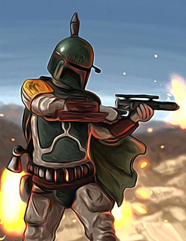 Star Wars Poster featuring the digital art Star Wars The Art by Larry Jones