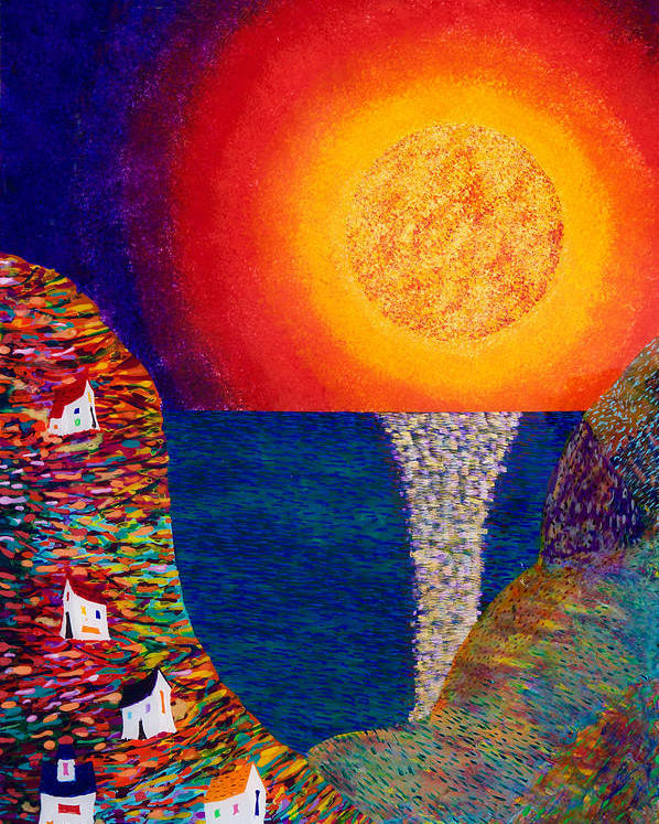 Abstract Poster featuring the painting 16-7 Village Sun by Patrick OLeary
