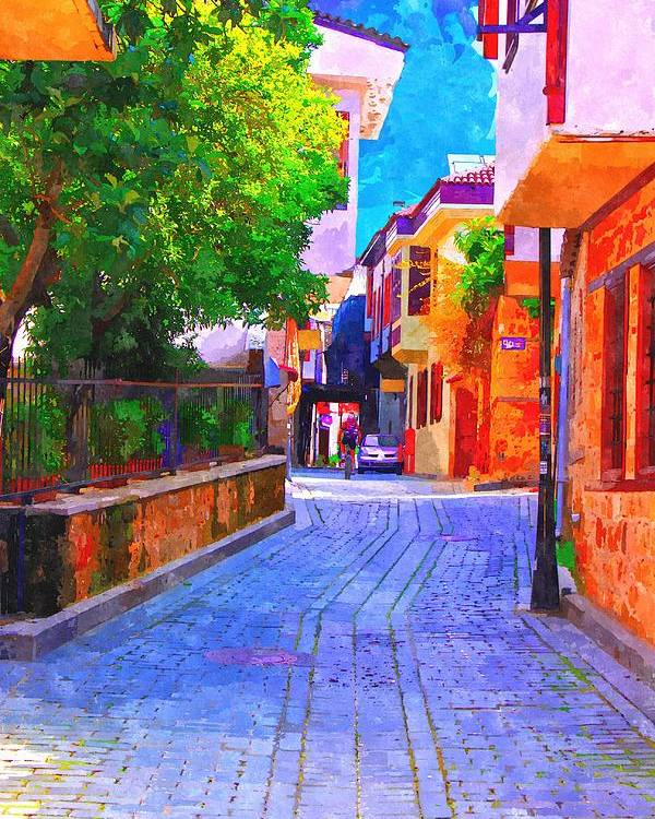 Painting Poster featuring the painting A Digitally Constructed Painting Of Cobbled Back Streets Of Kaleici In Antalya Turkey by Ken Biggs