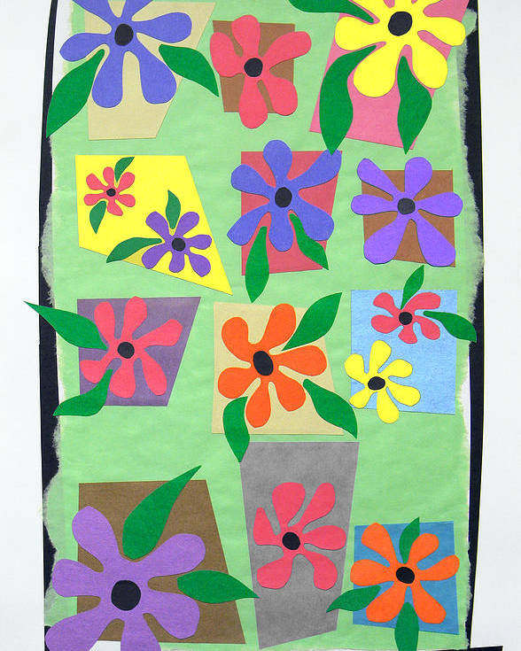 Cut Paper On Paper. Various Colored Flowers On A Light Green Background Framed In Black. Red Poster featuring the tapestry - textile Untitled by Teddy Campagna