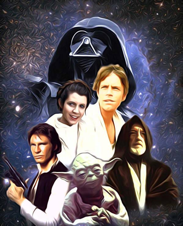 Star Wars Poster featuring the digital art Star Wars Saga Art by Larry Jones