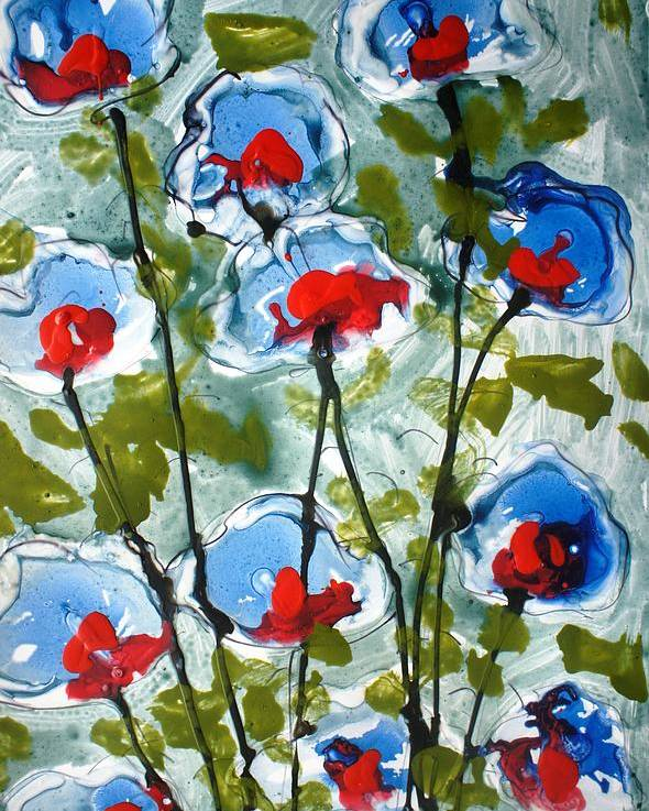 Nature Poster featuring the painting Heavenly Flowers by Baljit Chadha