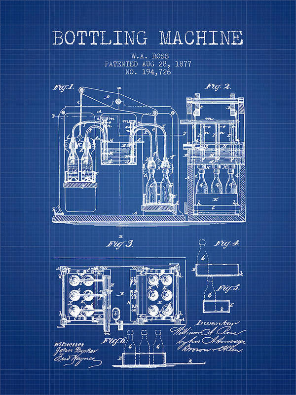 Bottle Machine Poster featuring the digital art 1877 Bottling Machine Patent - Blueprint by Aged Pixel