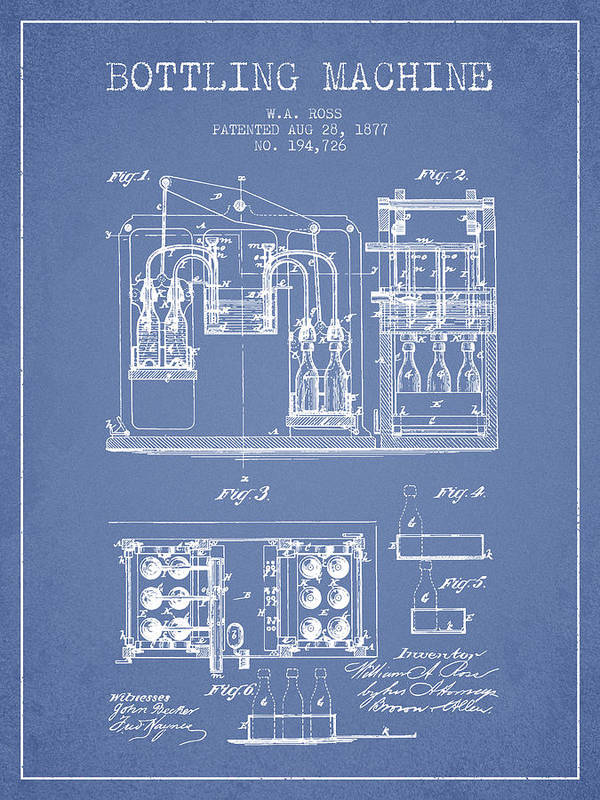 Bottle Machine Poster featuring the digital art 1877 Bottling Machine Patent - Light Blue by Aged Pixel