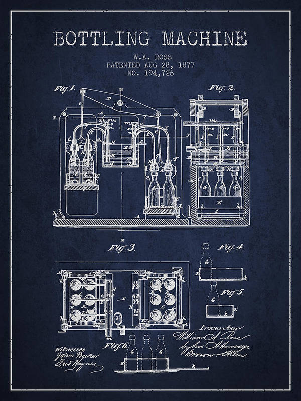 Bottle Machine Poster featuring the digital art 1877 Bottling Machine Patent - Navy Blue by Aged Pixel