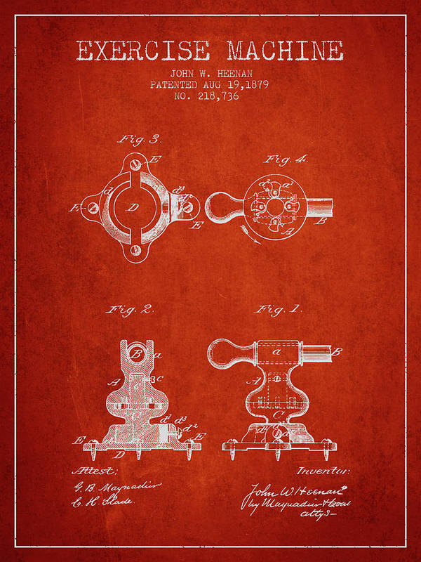 Exercise Poster featuring the digital art 1879 Exercise Machine Patent Spbb08_vr by Aged Pixel