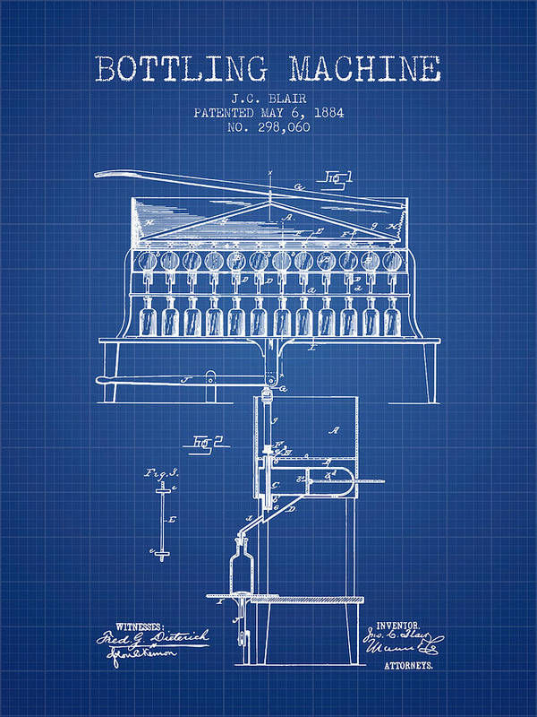 Bottle Machine Poster featuring the digital art 1884 Bottling Machine Patent - Blueprint by Aged Pixel