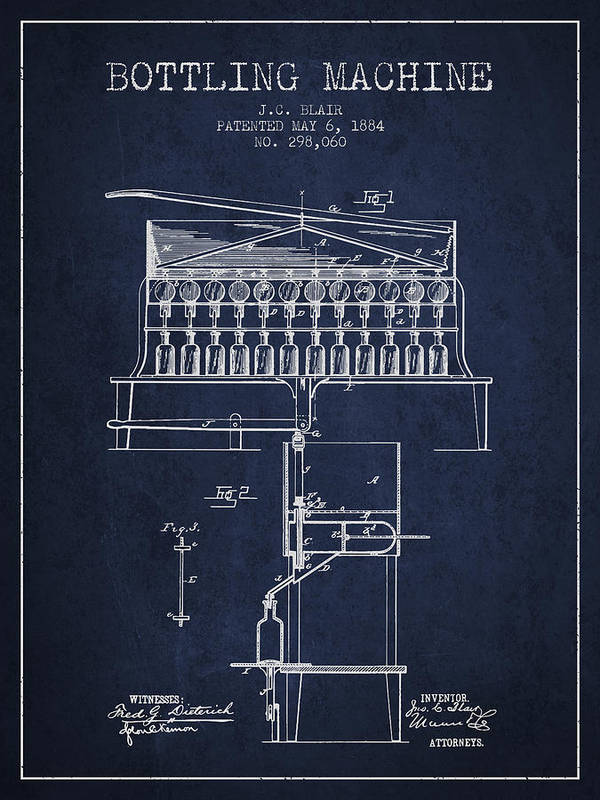 Bottle Machine Poster featuring the digital art 1884 Bottling Machine Patent - Navy Blue by Aged Pixel