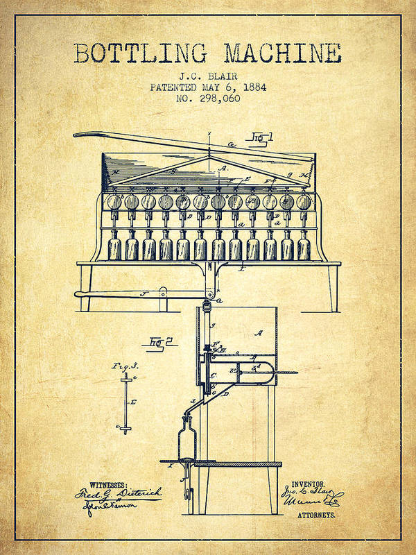 Bottle Machine Poster featuring the digital art 1884 Bottling Machine Patent - Vintage by Aged Pixel