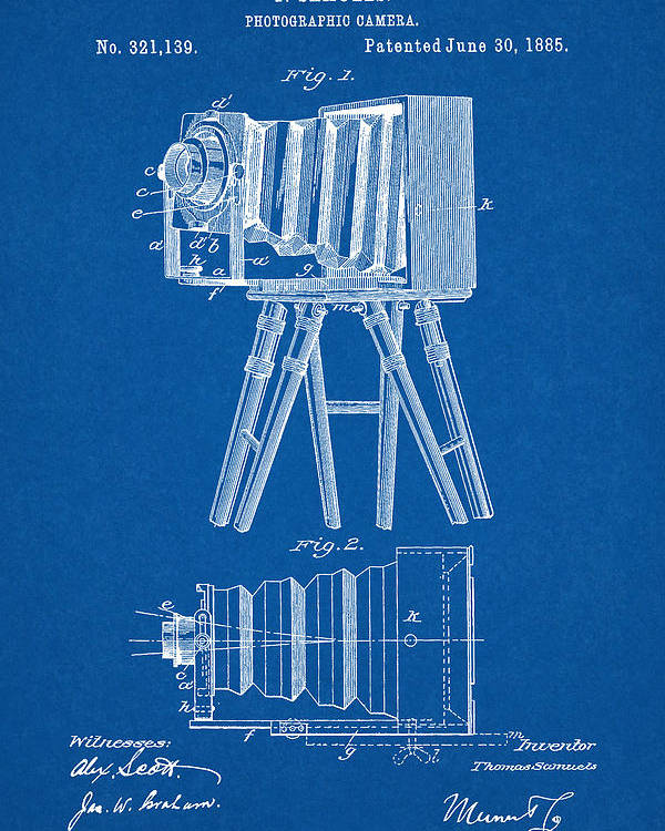 1885 camera us patent invention drawing blueprint poster by todd aaron patent poster featuring the digital art 1885 camera us patent invention drawing blueprint by todd malvernweather Images