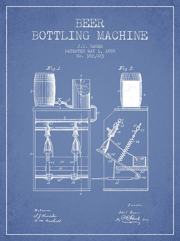 Beer Poster featuring the digital art 1888 Beer Bottling Machine Patent - Light Blue by Aged Pixel