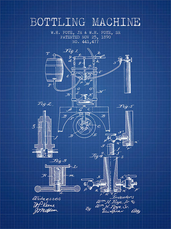 Bottle Machine Poster featuring the digital art 1890 Bottling Machine Patent - Blueprint by Aged Pixel