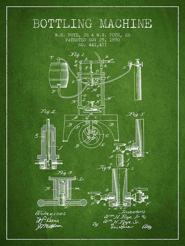 Bottle Machine Poster featuring the digital art 1890 Bottling Machine Patent - Green by Aged Pixel
