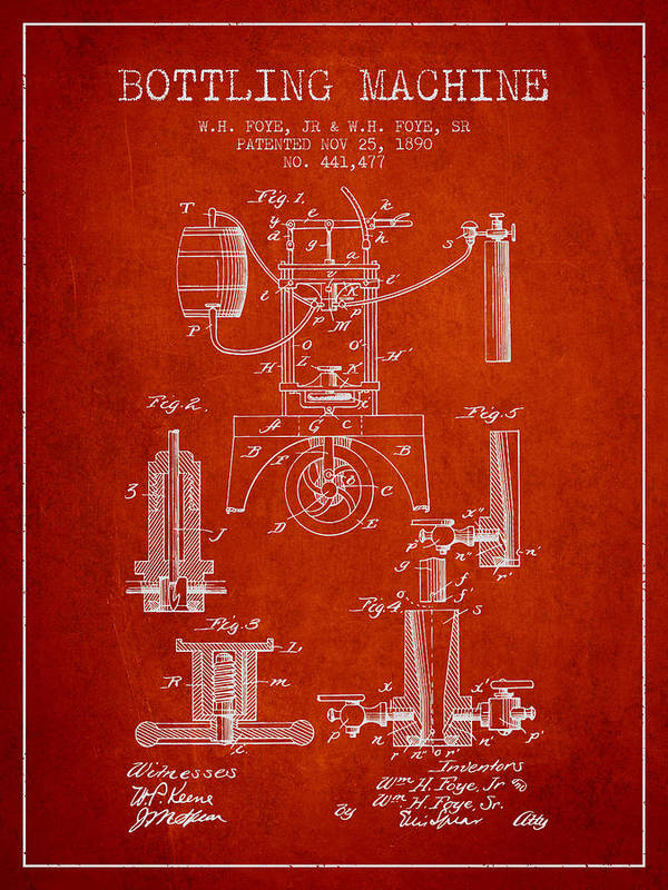 Bottle Machine Poster featuring the digital art 1890 Bottling Machine Patent - Red by Aged Pixel