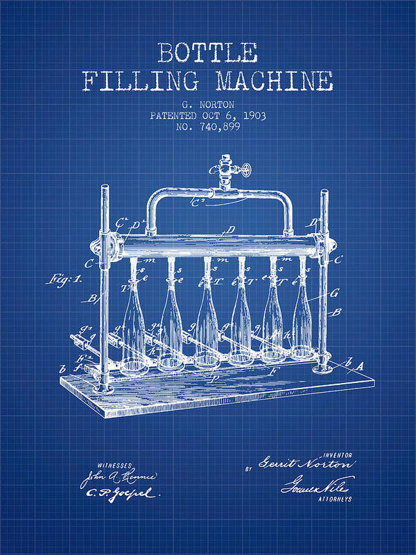 Bottle Machine Poster featuring the digital art 1903 Bottle Filling Machine Patent - Blueprint by Aged Pixel