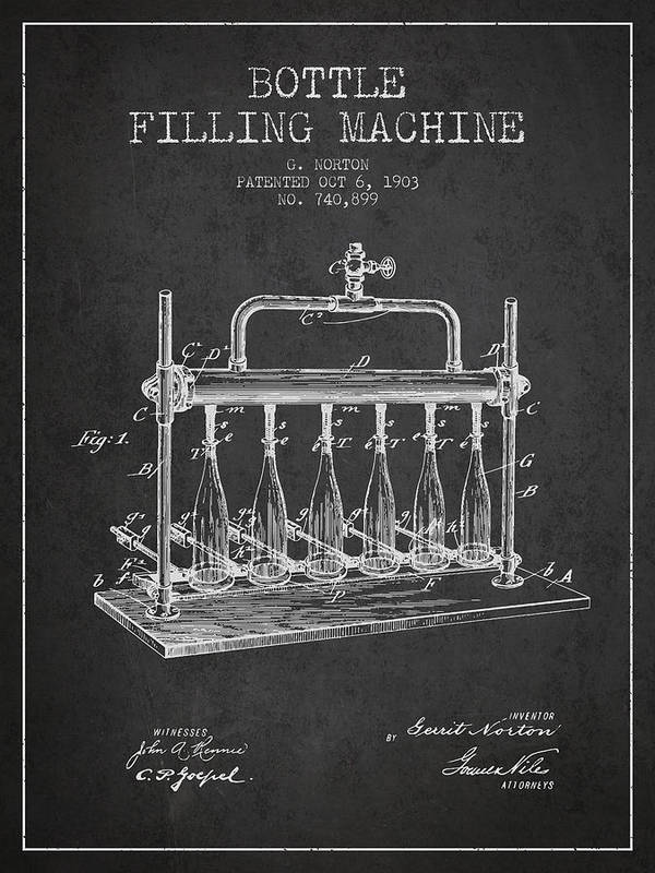 Bottle Machine Poster featuring the digital art 1903 Bottle Filling Machine Patent - Charcoal by Aged Pixel