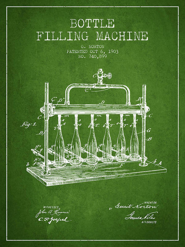 Bottle Machine Poster featuring the digital art 1903 Bottle Filling Machine Patent - Green by Aged Pixel