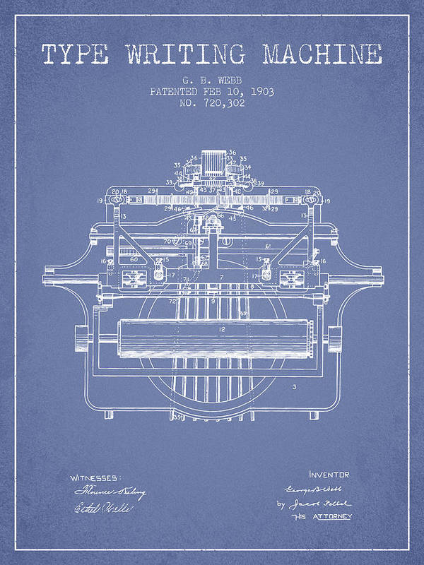 Typewriter Poster featuring the digital art 1903 Type Writing Machine Patent - Light Blue by Aged Pixel