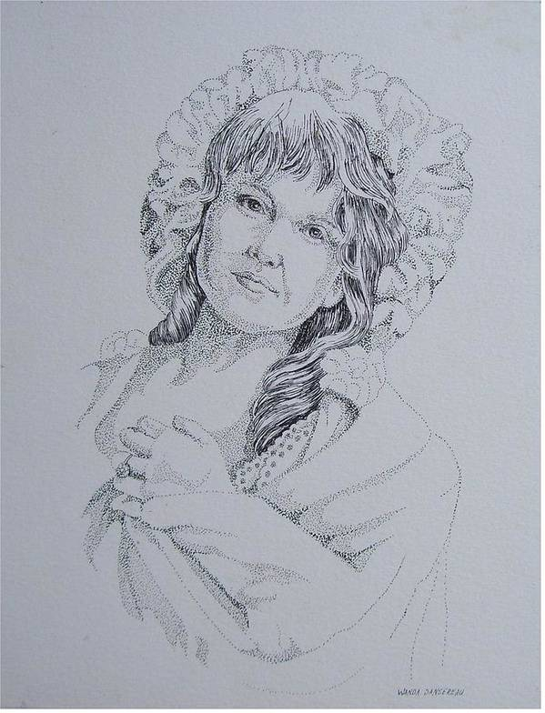 A Historic Piece Using The Pointillist Style Poster featuring the drawing 1910 Lady by Wanda Dansereau