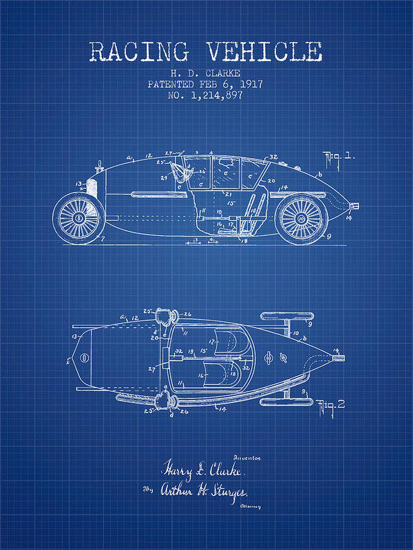 Racing Poster featuring the digital art 1917 Racing Vehicle Patent - Blueprint by Aged Pixel