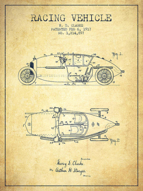 Racing Poster featuring the digital art 1917 Racing Vehicle Patent - Vintage by Aged Pixel