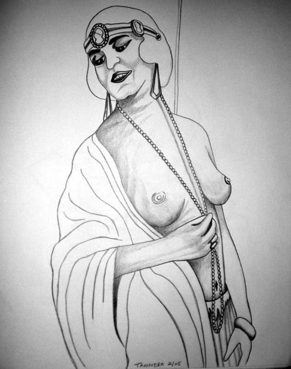 Deco Poster featuring the drawing 1920s Women Series 13 by Tammera Malicki-Wong
