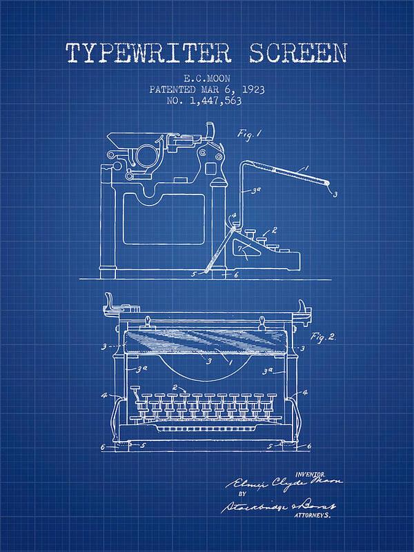 Typewriter Poster featuring the digital art 1923 Typewriter Screen Patent - Blueprint by Aged Pixel