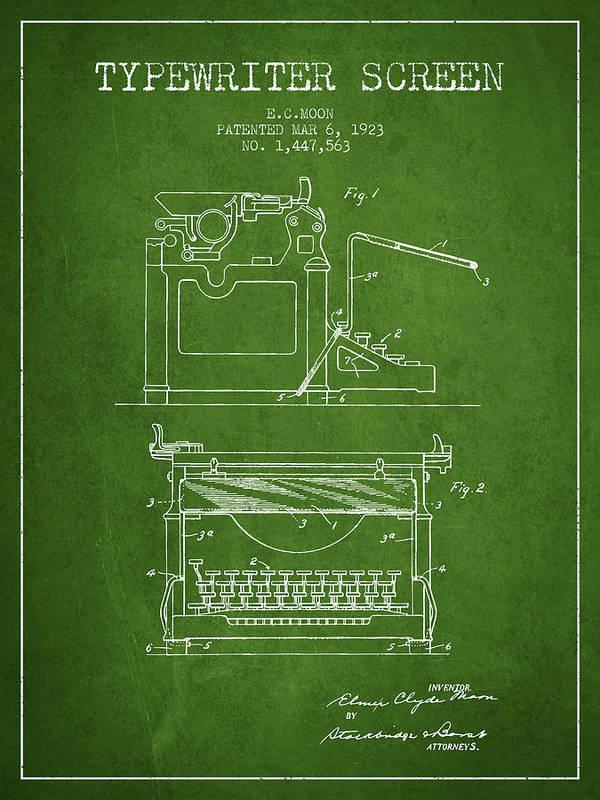 Typewriter Poster featuring the digital art 1923 Typewriter Screen Patent - Green by Aged Pixel