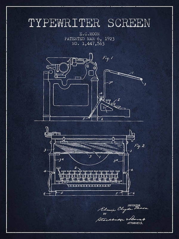 Typewriter Poster featuring the digital art 1923 Typewriter Screen Patent - Navy Blue by Aged Pixel
