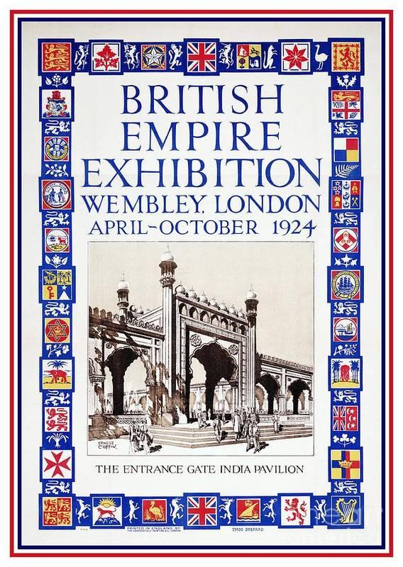 British Empire Exhibition Poster featuring the digital art 1924 British Empire Exhibition Wembley by Heidi De Leeuw