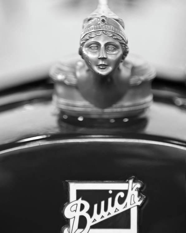 1928 Buick Custom Speedster Poster featuring the photograph 1928 Buick Custom Speedster Hood Ornament 4 by Jill Reger