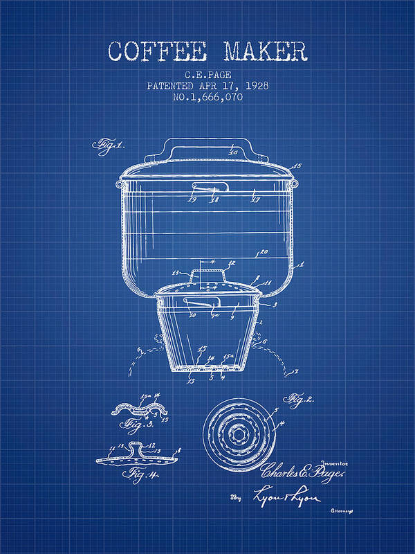 1928 coffee maker patent blueprint poster by aged pixel coffee poster featuring the digital art 1928 coffee maker patent blueprint by aged pixel malvernweather Images