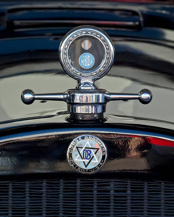 1928 Dodge Brothers Poster featuring the photograph 1928 Dodge Brothers Hood Ornament by Jill Reger