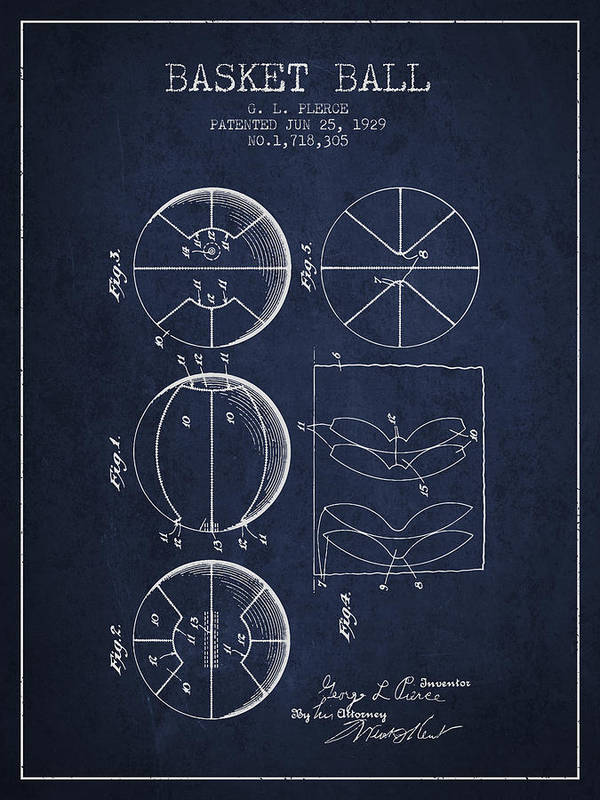 Basketball Poster featuring the digital art 1929 Basket Ball Patent - Navy Blue by Aged Pixel
