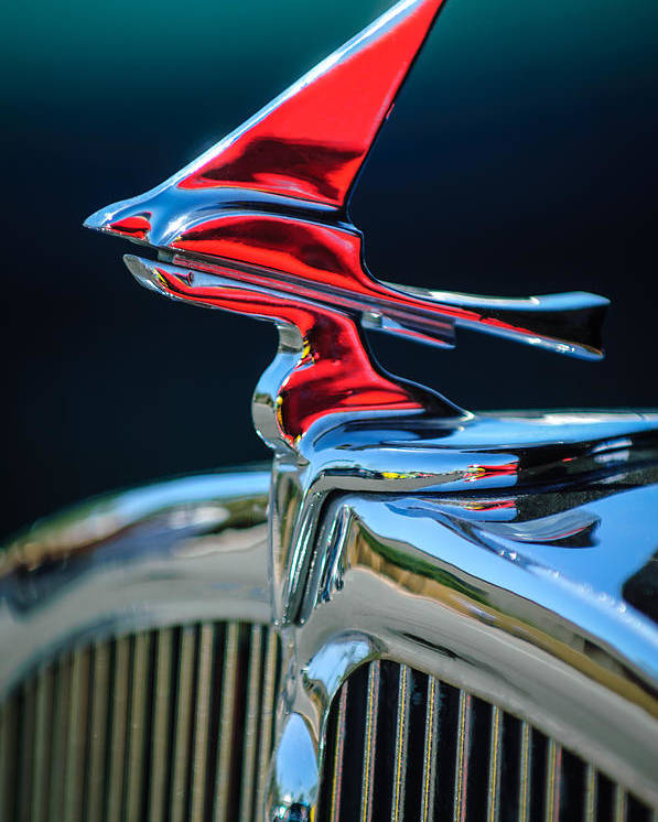 Car Poster featuring the photograph 1933 Franklin Olympic Hood Ornament by Jill Reger