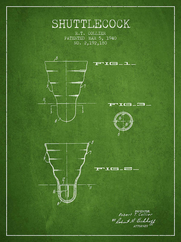 Badminton Poster featuring the digital art 1940 Shuttelcock Patent Spbm02_pg by Aged Pixel