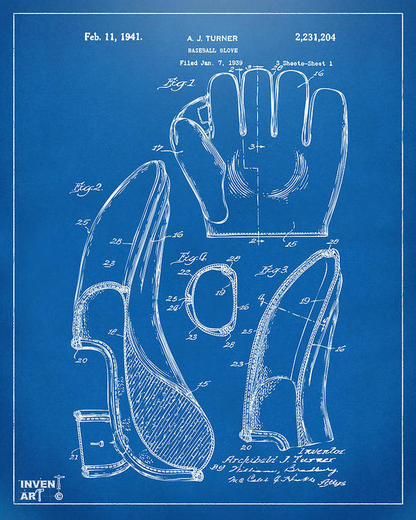 1941 baseball glove patent blueprint poster by nikki marie smith baseball poster featuring the digital art 1941 baseball glove patent blueprint by nikki marie smith malvernweather Gallery