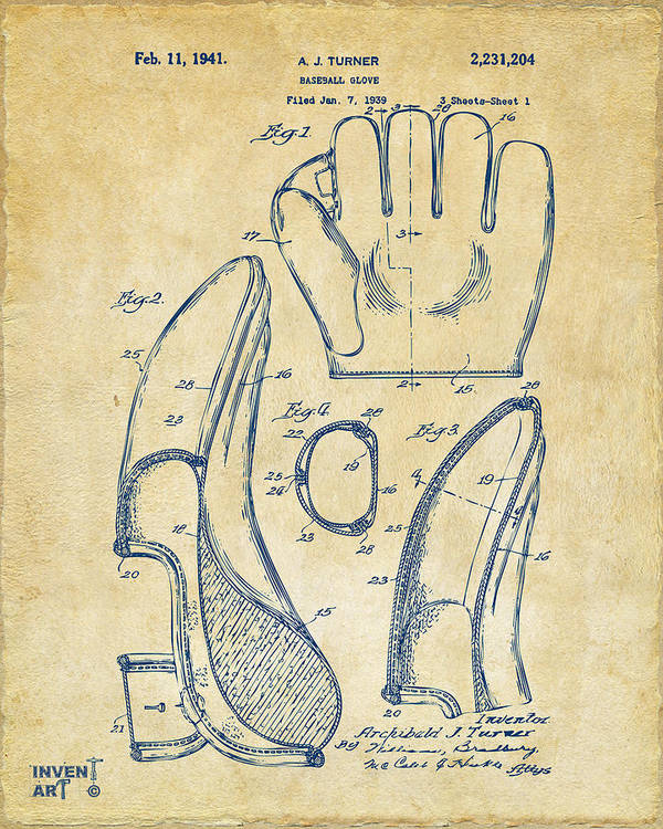 Baseball Poster featuring the drawing 1941 Baseball Glove Patent - Vintage by Nikki Marie Smith