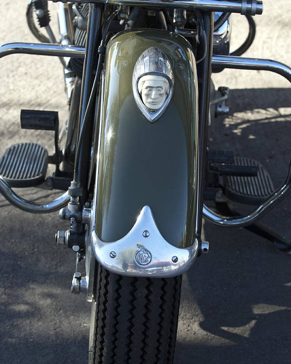 1948 Indain Chief Motorcycle Poster featuring the photograph 1948 Indian Chief Motorcycle Hood Ornament by Jill Reger