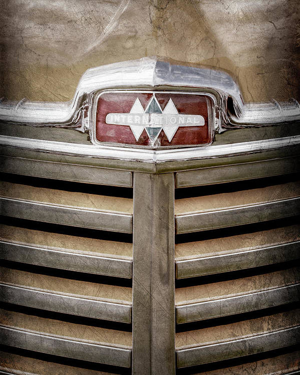 1948 International Hood Emblem Poster featuring the photograph 1948 International Hood Emblem -0227ac by Jill Reger