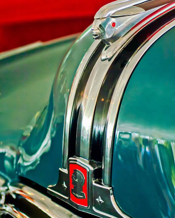 1948 Pontiac Hood Ornament Poster featuring the photograph 1948 Pontiac Streamliner Woody Wagon Hood Ornament by Jill Reger