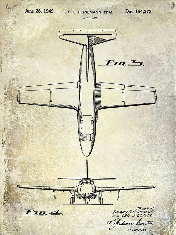 1949 Airplane Patent Poster featuring the photograph 1949 Airplane Patent Drawing by Jon Neidert