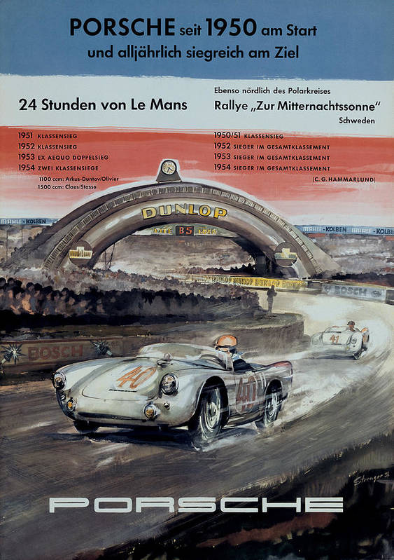 VINTAGE PORSCHE 1952 MOTOR RACING A4 POSTER PRINT